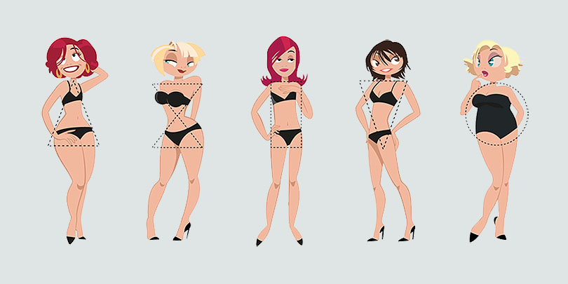 На фото типы женских фигур