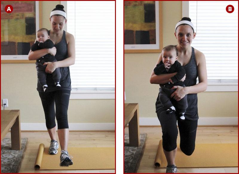 Упражнение выпады с ребенком на руках