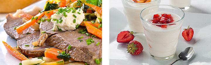 Отварная говядина с овощами и йогурт на ужин