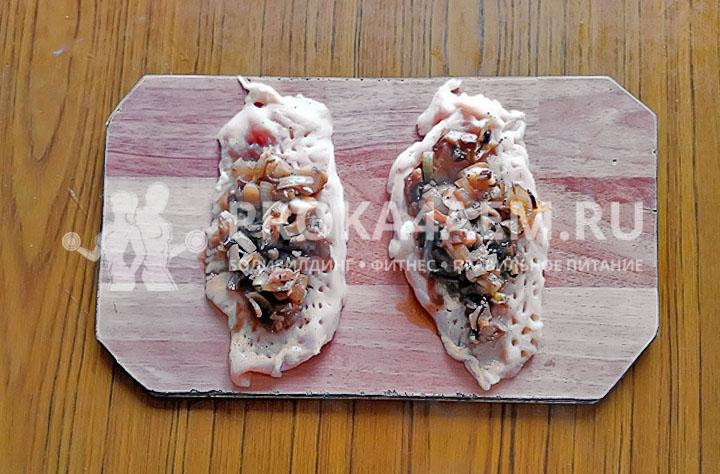 начинка из грибов и лука для рулетов