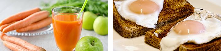 сок и тосты с яйцом